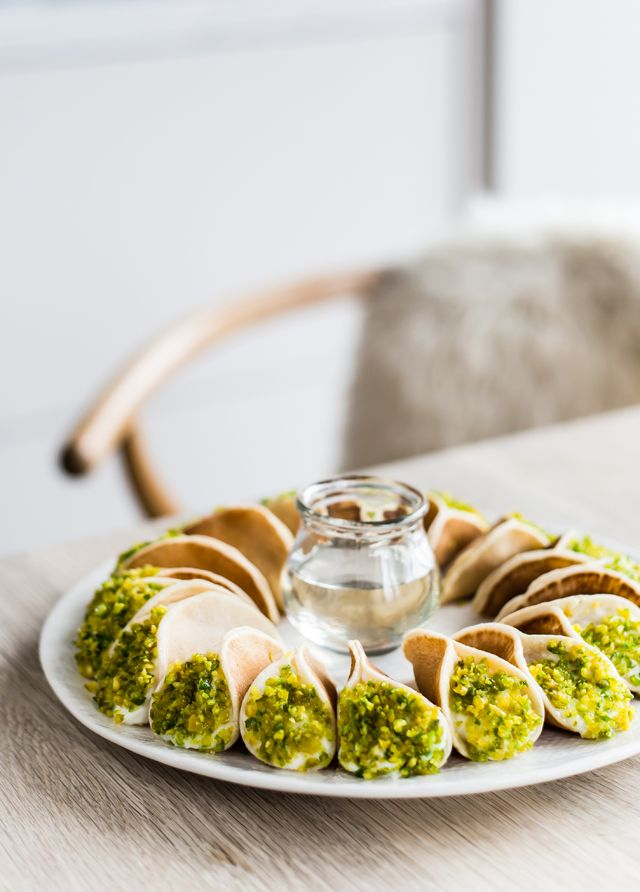 Tiny crêpes filled with ricotta cream, pistachios and drizzled with orange blossom syrup for www.cuisinesteam.ca