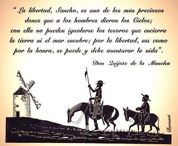 20 frases célebres de 'El Quijote' , Don quijote de la mancha. http://www.muyinteresante.es/cultura/arte-cultura/articulo/20-frases-celebres-de-el-quijote-101453385075