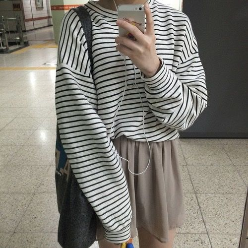 White/black striped long sleeve crew neck sweater