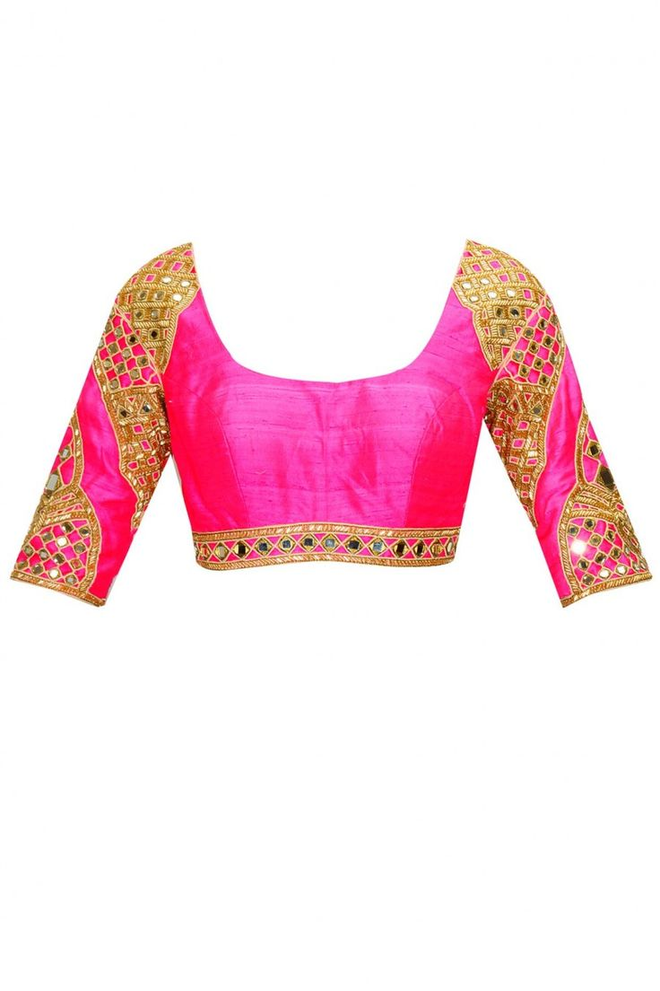 Indigo salli and mirror work sari with bright pink embroidered blouse available only at Pernia's Pop-Up Shop.