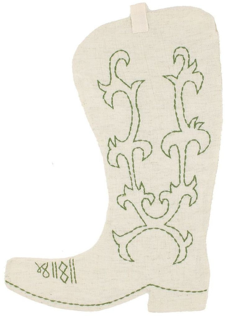 Cowboy Boot Christmas Stocking in Cream by Judith March #$0-to-$50 #Beige #Clearance-Ornaments-&-Artwork