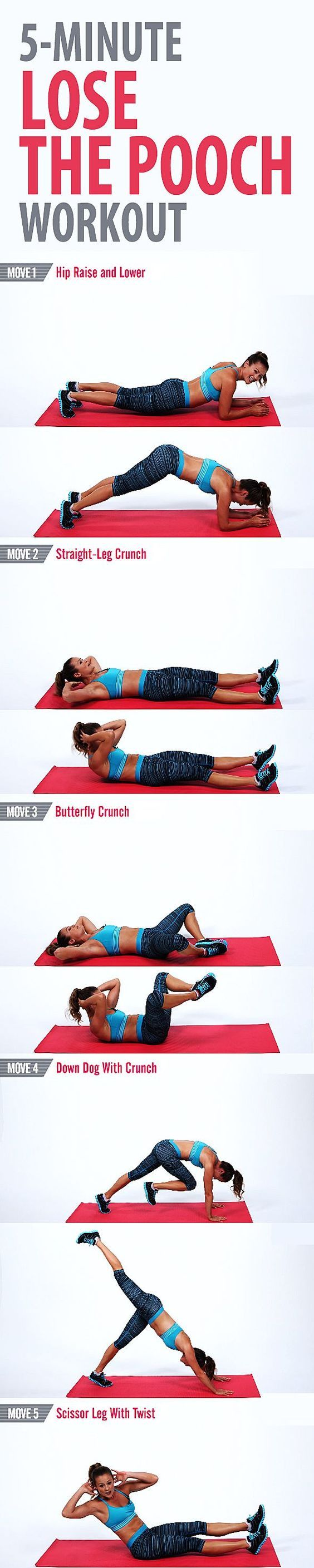 Try this quick and focused workout to tone the lower part of your abs and work off the pooch. We concentrate on the abs for five minutes.