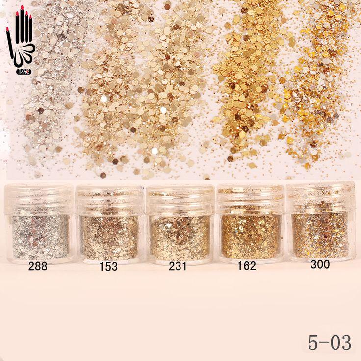 Nail 1 Jar/Kotak 10 ml Champagne Perak Emas Mix Nail Glitter bubuk Sequin Bubuk Untuk Gel Nail Art Dekorasi 300 Warna 5-03