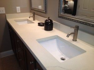 2 sinks concrete countertop modern bathroom