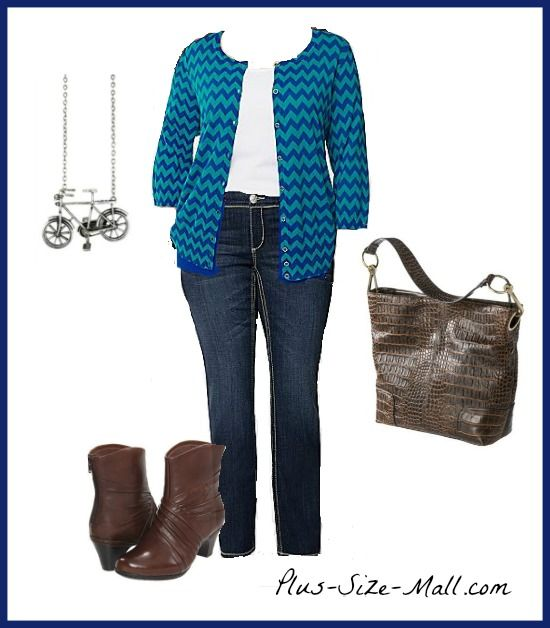 Plus Size Chevron Cardigan & Outfit