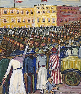"Grace Cossington Smith, ""Reinforcements: troops marching"" 1917"