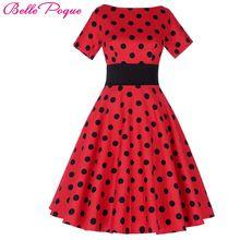 Belle Poque Старинные Горошек Dress Коротким Рукавом О-Образным Вырезом Плюс размер Носить женское платье Vintage 50 s Ретро Свинг Женщины Партии платья(China (Mainland))