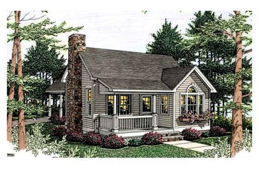 One bedroom one bathroom plus loft fireplace house for Retirement cottage house plans