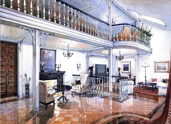 Эскиз интерьера, акварель / Портфолио / Дом в стиле - архитектура и дизайн интерьера
