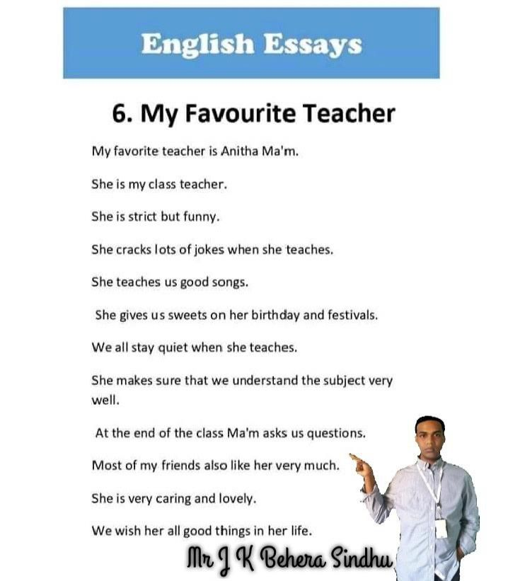 Pin By J K On Behera Sindhu In 2020 My Favourite Teacher Clas Essay Favorite Essays 10 Line English For 7 Hindi