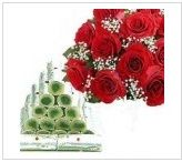 Rock N Roll with this beautiful 12 Red Roses bunch with 250gms Kaju Roll.