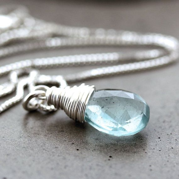 Aquamarine Necklace, Sky Blue Aquamarine Sterling Silver Necklace March Birthstone Pastel Spring Fashion Aquamarine Jewelry - Water Sign on Etsy, $77.84 CAD