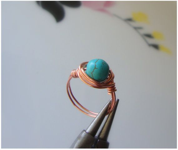 Rings wire wrap .moonstone.turquoise cross by ORIGINALsPAINTINGS, €11.00