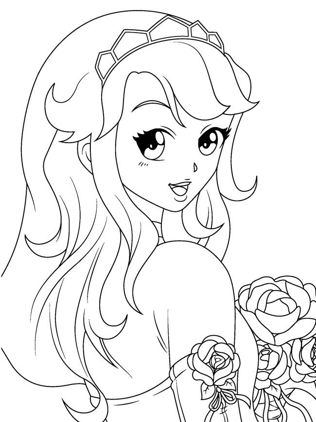 cute anime coloring pages - photo#12