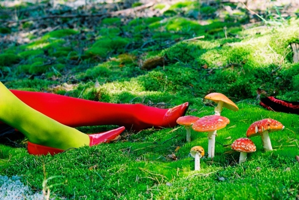 Lady with red shoes in woods
