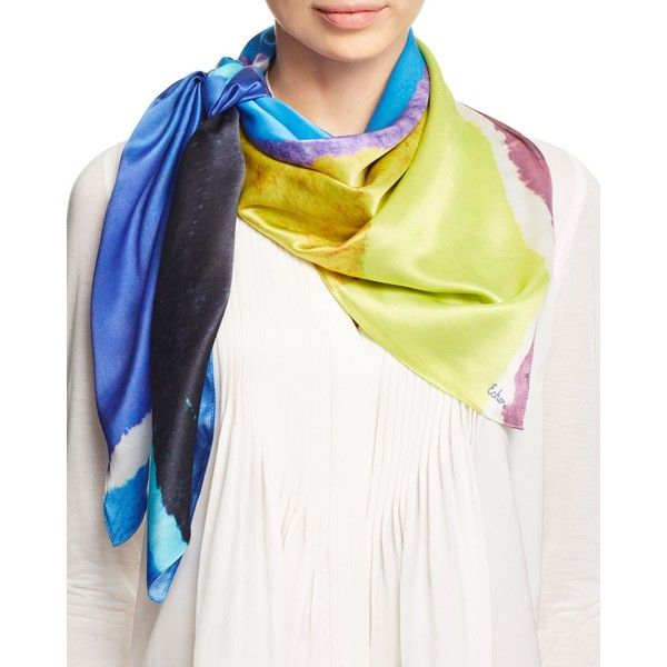 Echo Paint Cans Silk Square Scarf ($100) ❤ liked on Polyvore featuring accessories, scarves, turquoise, pure silk scarves, silk shawl, silk scarves, echo scarves and square silk scarves