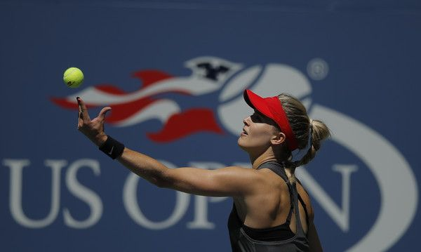 Canada's Eugenie Bouchard serves the ball to Russia's Evgeniya Rodina during their 2017 US Open Women's Singles match at the USTA Billie Jean King National Tennis Center in New York on August 30, 2017. / AFP PHOTO / EDUARDO MUNOZ ALVAREZ