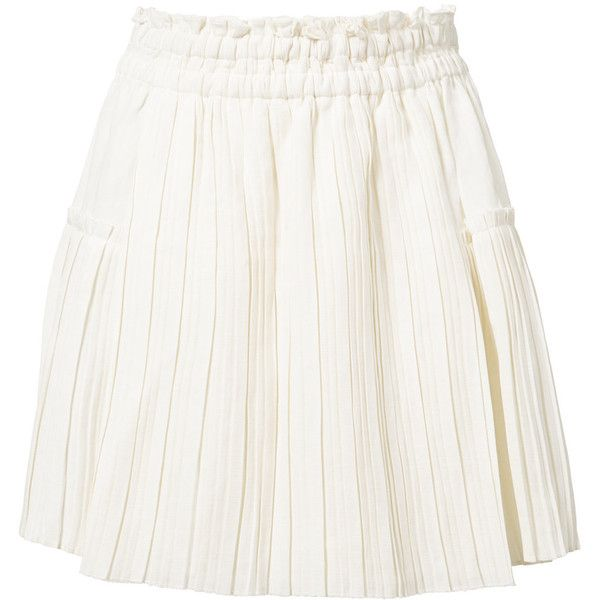 Apiece Apart pleated mini skirt ($295) ❤ liked on Polyvore featuring skirts, mini skirts, white, white linen skirt, white pleated skirt, pleated miniskirt, short skirts and white skirt