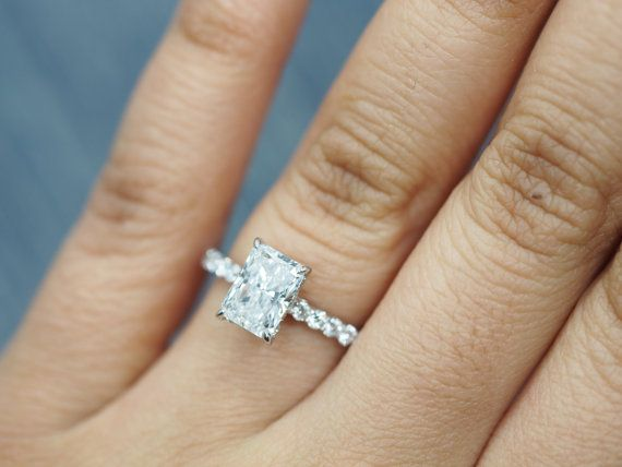 Radiant Cut Solitaire Engagement Ring with by DesignsByKamni