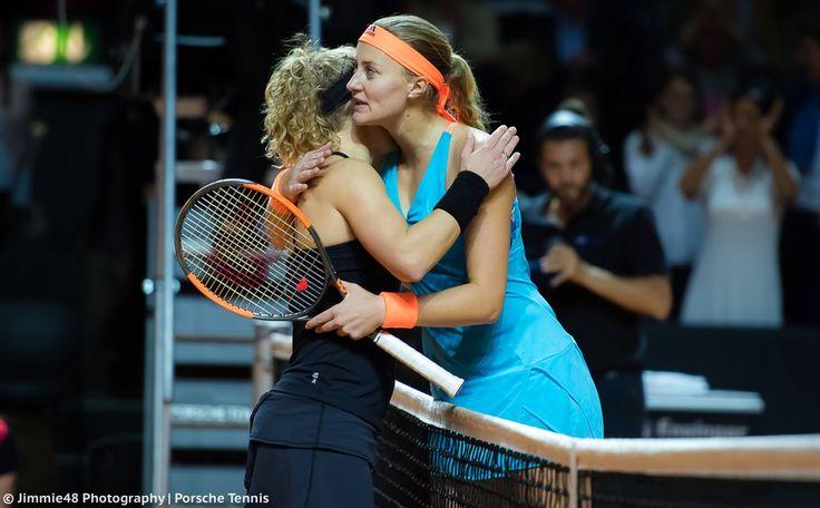 4/30/17 Via Jimmie48Photography: Laura Siegemund & Kiki Mladenovic meet at the net after a thrilling Porsche Tennis final. Hometown fave Laura upset Kiki in a controversial 3 setter.