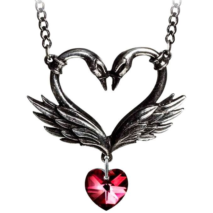 Alchemy Gothic The Black Swan Romance Red Heart Pendant Necklace Thrown together by time, events and circumstances beyond coincidence - the rarest of all affairs; highly unlikely, impossible to predic