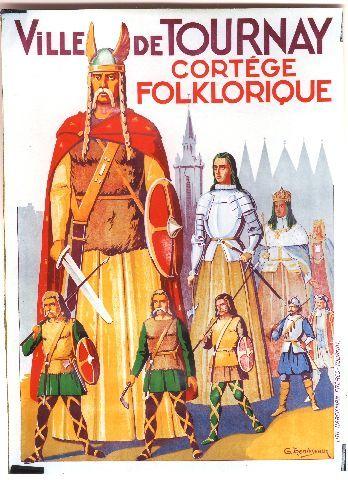 Trenteseaux - Tournai Cortège Folklorique - 1950 vintage poster