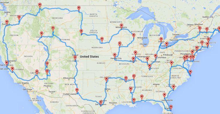 Doutorando cria a rota perfeita para quem quer conhecer todos os Estados Unidos de carro