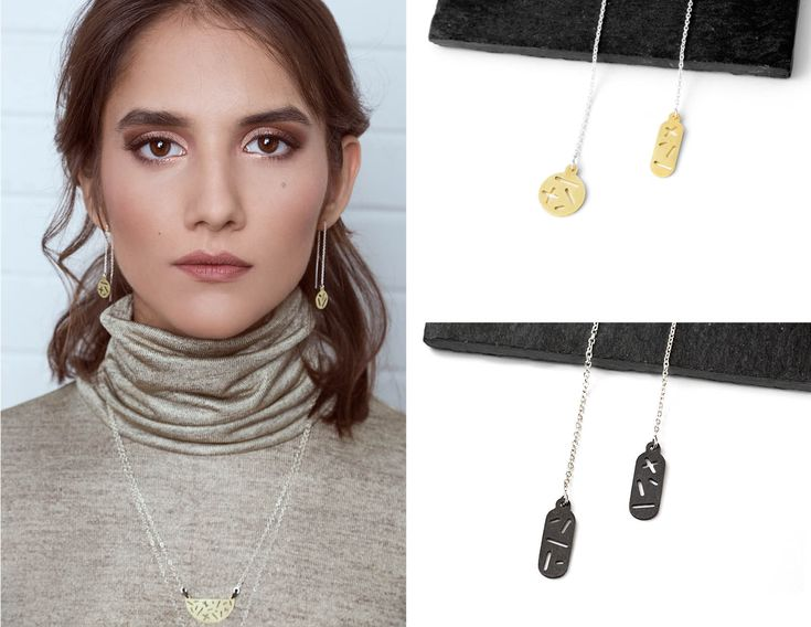 Minimal and modern. Threader earrings. Lookbook Camillette Jewelry