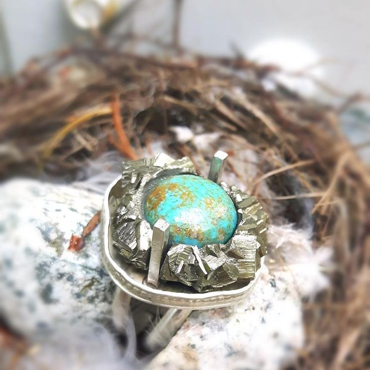 """62 Likes, 5 Comments - PhoenixRisingJewelry (@phoenixrisingjewelry) on Instagram: """"The Bird's Nest Ring. Update- Sold! A gorgeous and one of a kind idea using a pyrite cluster AS the…"""""""