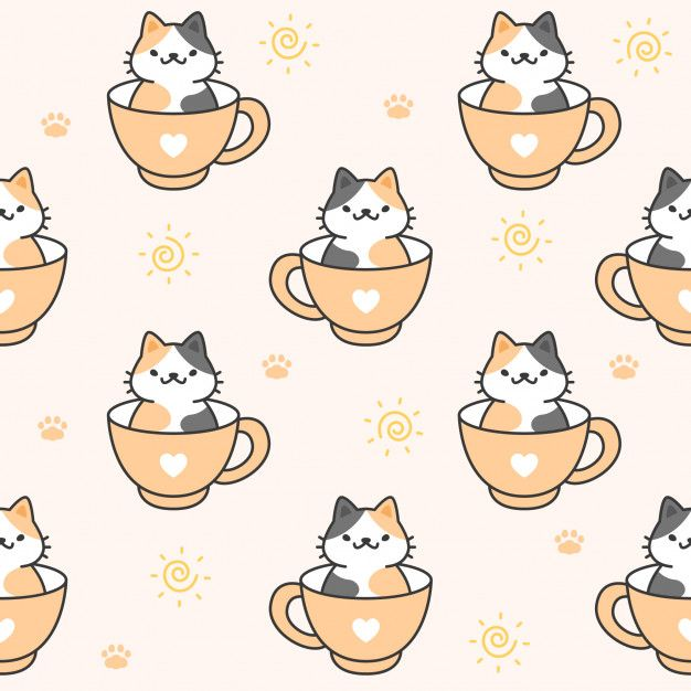 Cute Cat In A Cup Of Coffee Seamless Pattern Background Background Patterns Cat Background Cute Cartoon Drawings Background cute wallpapers cats