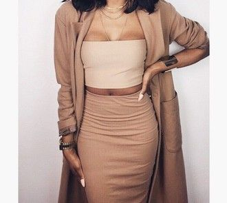 all nude everything nude top nude skirt camel coat camel nude tan crop tops bustier crop top bodycon skirt outfit tube top blazer kylie jenner nude dress
