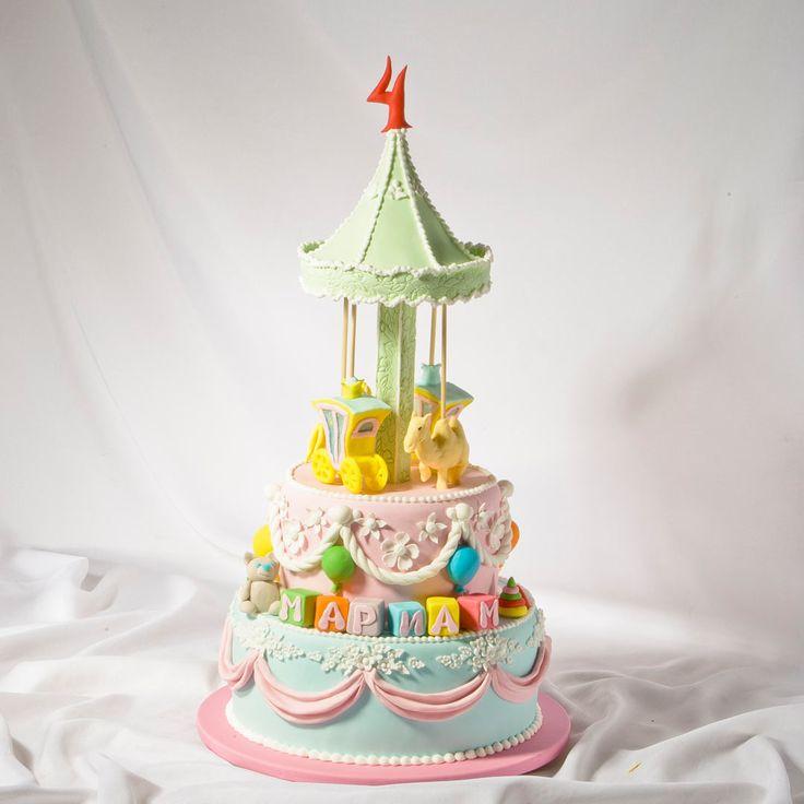 Детский торт на день рождения Карусель для Мариам. Заказ торта в Санкт-Петербурге по тел.: 409-39-40