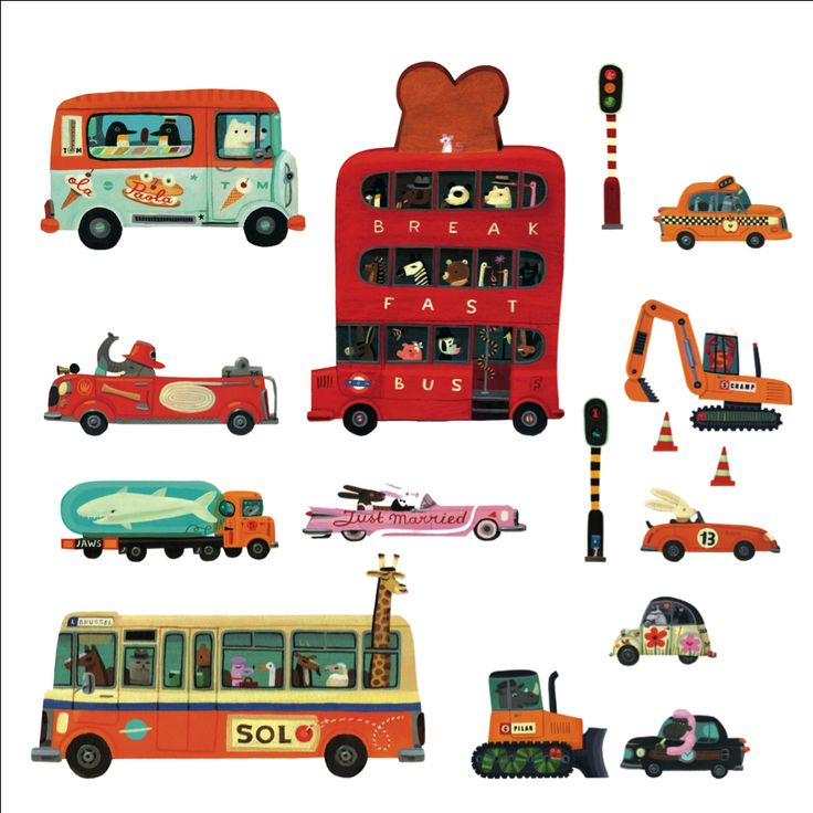 Wall #stickers #vehicles by #Djeco from www.kidsdinge.com