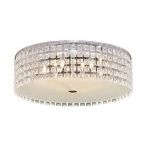 BAZZ 6-Light Steel and Chrome Ceiling Light with Glass Beads Shade and Frosted Glass Diffuser PL3416ON at The Home Depot - Mobile