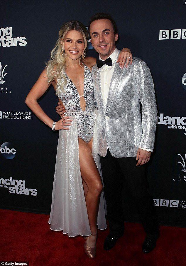 Glittering: While actor Frankie Muniz (R) looked dapper in his sequin blazer alongside his dance partner Witney Carson