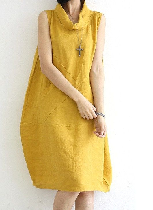 Yellow  Loose fitting Maxi dress  Linen dress  Cotton dress Lantern skirt Vest blouse -Spring, Autumn for Women C8