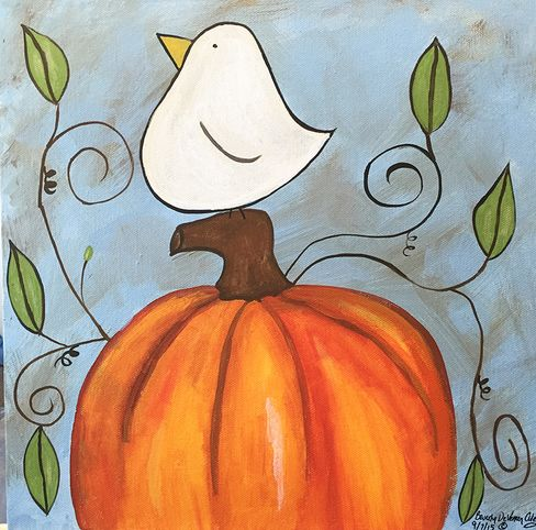 White bird on a pumpkin canvas painting                                                                                                                                                                                 More