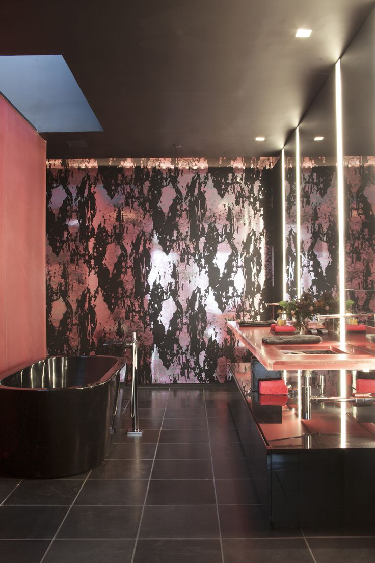 The Art Gallery Eclectic Modern Bathroom Large scale patterned wallpaper in a black and pink bathroom
