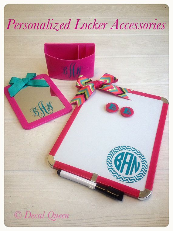 Personalized Monogram Locker Accessory Set by TheDecalQueen, $28.00