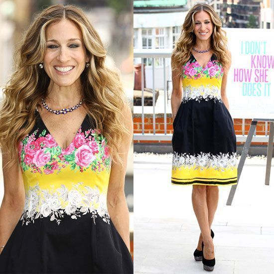 Sarah Jessica Parker attended the London photo call for I Don't Know How She Does It in a Prabal Gurung dress from the Resort 2012 collection — her second by the designer this week — paired with gorgeous black embellished heels by Charlotte Olympia. #charlotteolympiaheelsdresses #charlotteolympiaheelsoutfit