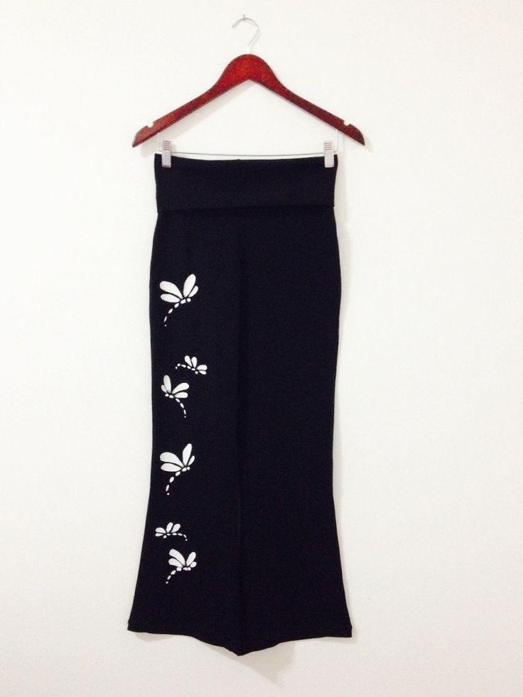 Black yoga pants, Womens yoga pants, Workout, Plus size yoga, Dragonfly pants