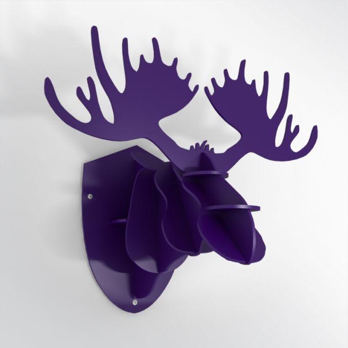 PVC Hunting Trophy - Purple Moose Antlers. Made from PVC foam, cnc cutted. Also available in baltic birch plywood. Designed and made in Québec, by dezz.xyz.