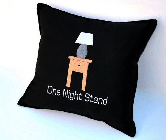One Night Stand Black Cotton Humorous Pillow by YellowBugBoutique