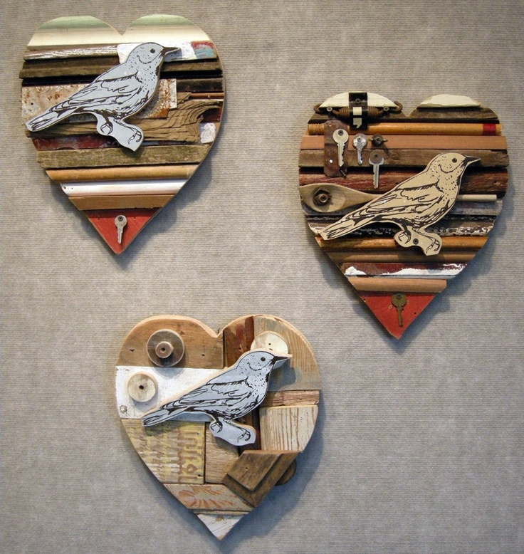 Heart of recycled wood