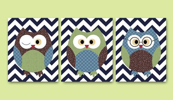 Owls Decor Owls Nursery Baby Boy Nursery Kids wall by artbynataera