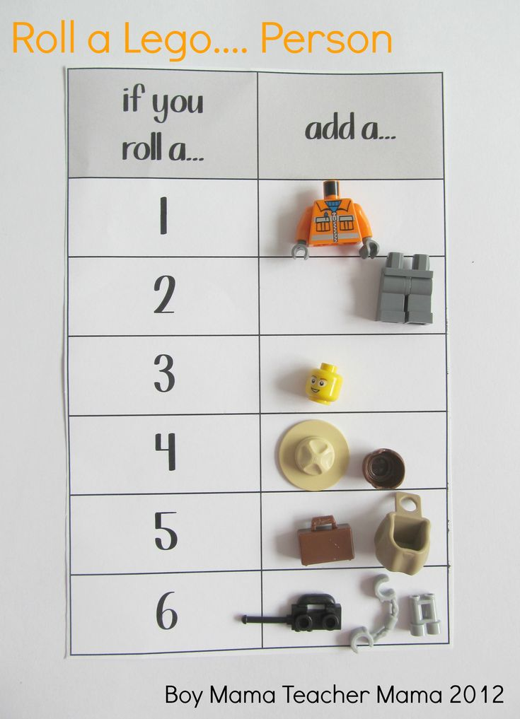 Roll a Lego.... If you want the game to be a little more challenging, make a rule that in order to collect the hats/hair, suitcase/backpack and tools, the body must be completed first.