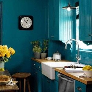 Kitchen Teal Decorating Ideas With Ceramic Sink And Chrome Faucet Butcher Block Countertop Interior Color