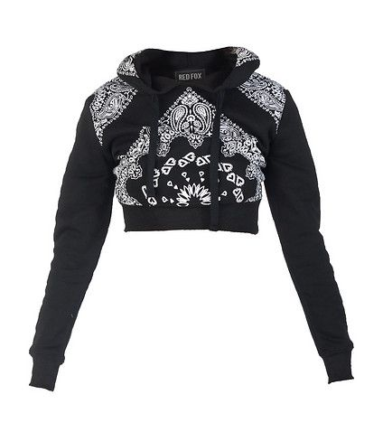 I had to buy it. ..fell in love. RED FOX Cropped sweatshirt with bandana print Long sleeves Adjustable drawstring on hood