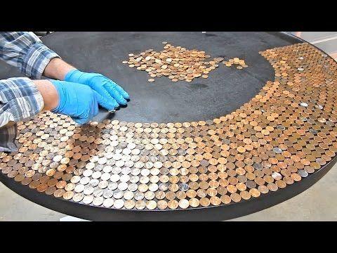 Penny Table Top Using Glaze Coat - YouTube