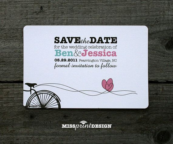 Sweethearts Love Bike SAVE THE DATE by missprintdesign on Etsy, $2.00